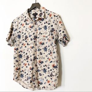 UO CPO Provisions Floral Short Sleeve Button Down